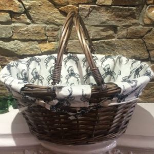 Willow Shopping Basket With Stag Design Insert