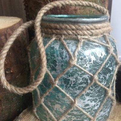 Green Frosted Rope Lantern