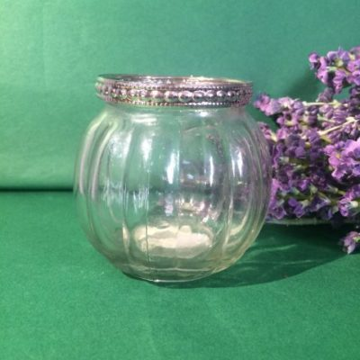 Round Glass T.Light Holder With Silver Trim