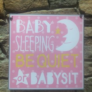 Baby Sleeping Sign Pink