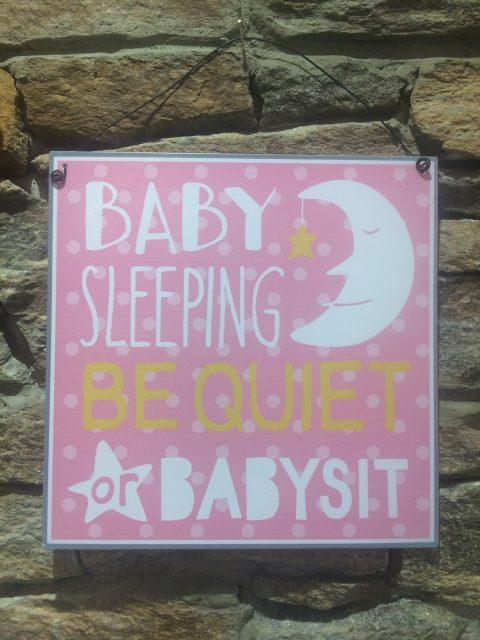 Baby Sleeping Sign Pink