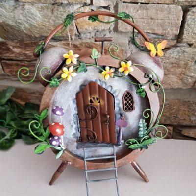 Metal Clock Fairy House