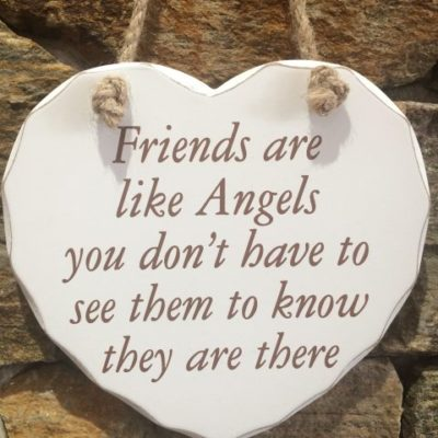 Friends Are Like Angels Wooden Heart Hanger