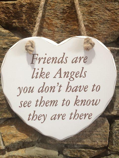 Friends Are Like Angels Wooden Heart Hanger