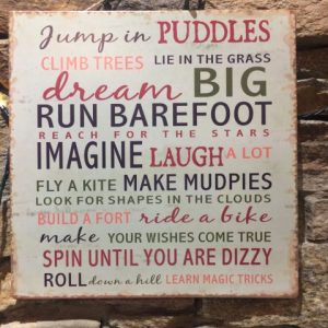 Playtime Rules Metal Plaque