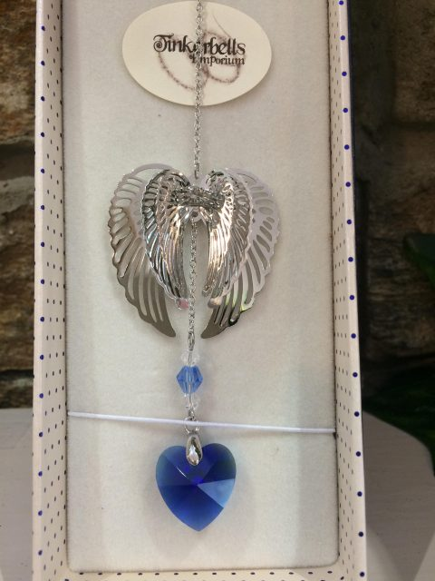 Angel Wings Sun Catcher Blue