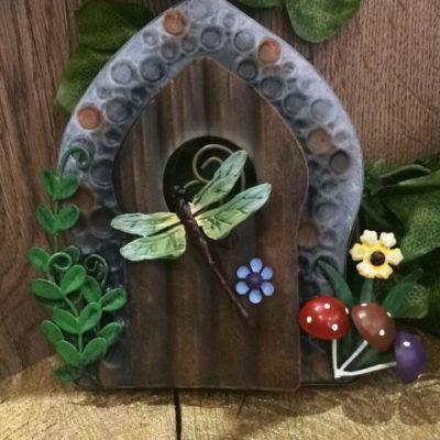 Metal Fairy Door Dragonfly