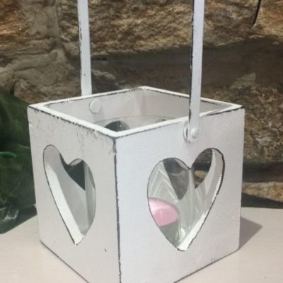 Cube With Cut Out Hearts T.Light Holder