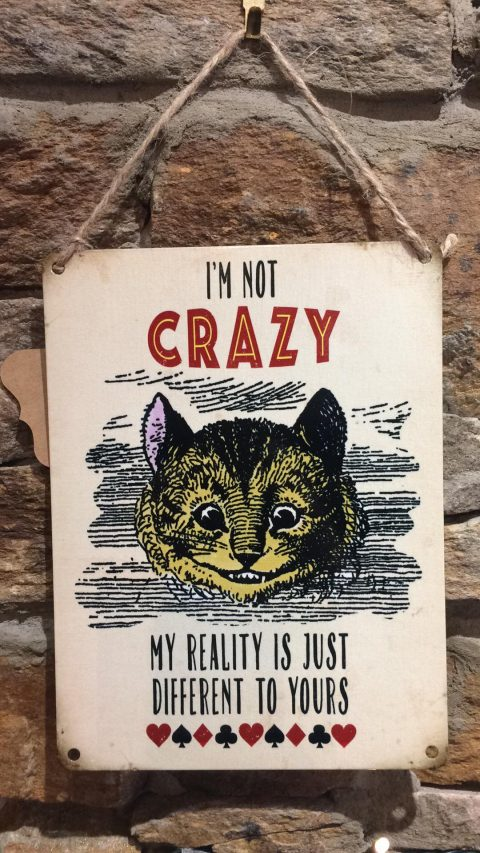 Alice Crazy Cheshire Cat Metal Sign