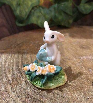 Miniature Bunny Watering Flowers