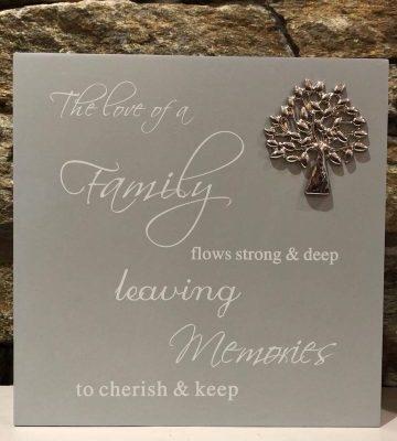Grey Script Plaque - Family