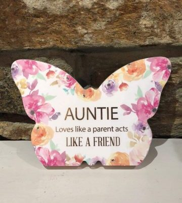 Butterfly Plaque Floral - Auntie