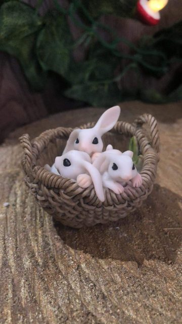 Bunnies In Basket Miniature Ornament