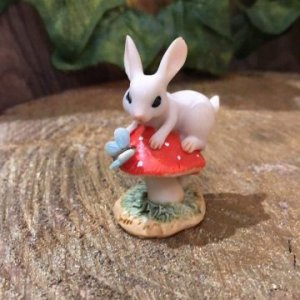 Miniature Bunny on Toadstool