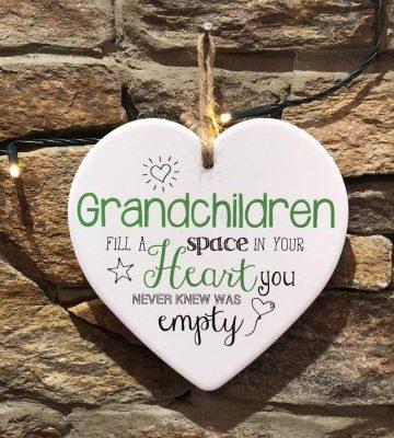 Grandchildren Ceramic Heart Plaque