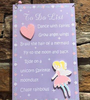 Fairy To Do List Plaque Purple