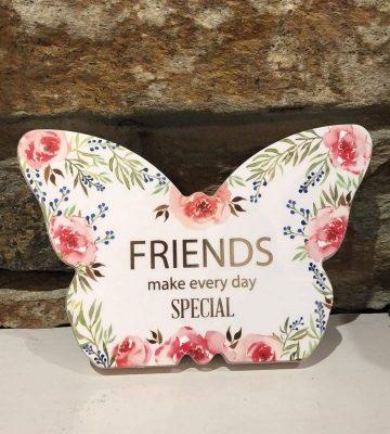 Butterfly Plaque Floral - Friends