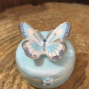 Enamel Butterfly Trinket Box Blue