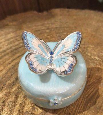 Enamel Butterfly Trinket Box Blue