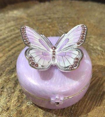 Enamel Butterfly Trinket Box Lilac