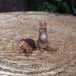 Miniature Hedgehog and Bunny Rabbit Set