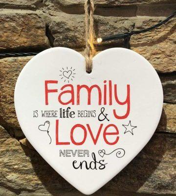 Family Love Ceramic Heart Plaque