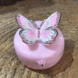 Enamel Butterfly Trinket Box Pink