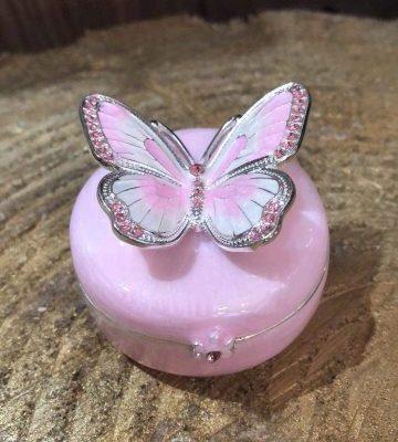 Enamel Butterfly Trinket Box Pink