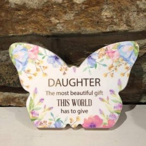 Butterfly Plaque Floral - Daughter