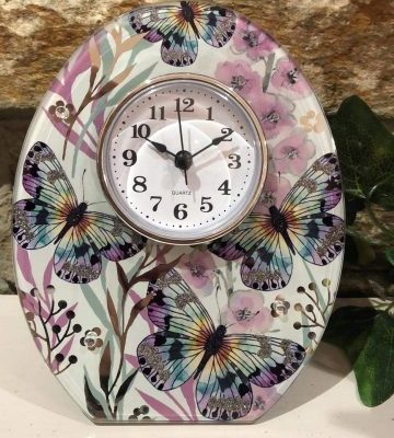 Floral Blush Clock Butterfly