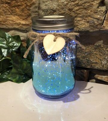 Light Up Two Tone Jar - Blue & Silver