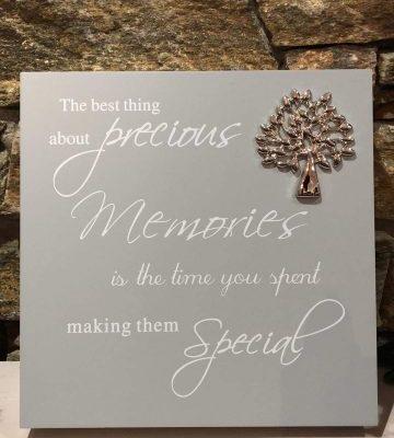 Grey Script Plaque - Memories