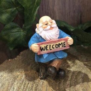 Gnome Figurine With Welcome Sign