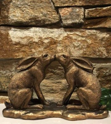 Bronze Kissing Hare Ornament