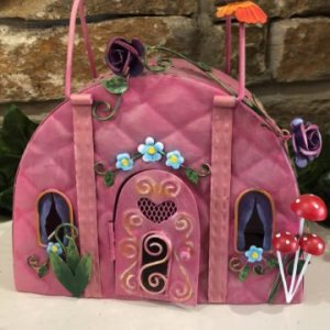 Pink Handbag Metal Fairy House