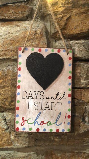 Days Until I Start School Chalkboard Countdown